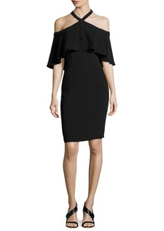 Carmen Marc Valvo Stretch Crepe Cape Cocktail Dress