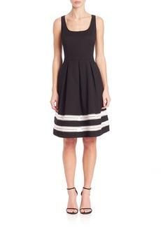 Carmen Marc Valvo Stripe Hem Dress