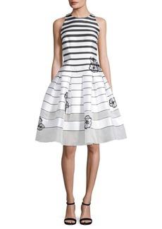 Carmen Marc Valvo Striped Fit-&-Flare Dress