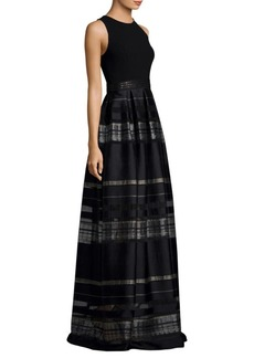 Carmen Marc Valvo Striped Floor-Length Gown