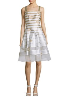 Carmen Marc Valvo Striped Organza Dress