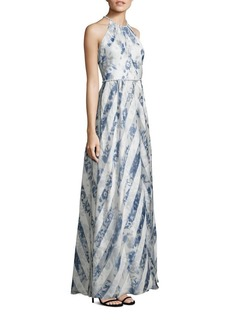 Carmen Marc Valvo Striped Organza Halter Gown