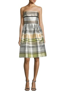 Carmen Marc Valvo Striped Strapless Satin A-Line Dress