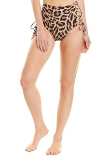 Carmen Marc Valvo Swimwear Animal Print Lace-Up High-Waist Bikini Bottom