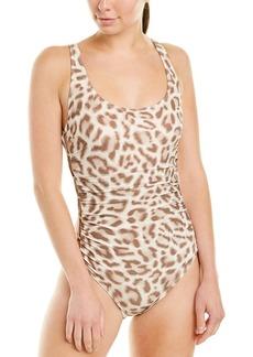 Carmen Marc Valvo Swimwear Animal Print Scoop One-Piece