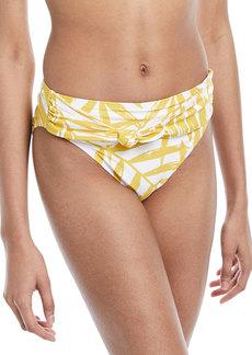Carmen Marc Valvo Tie-Front Palm-Leaf Print Swim Bikini Bottoms