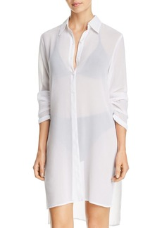 Carmen Marc Valvo Tie-Front Tunic Swim Cover-Up