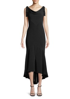Carmen Marc Valvo Tie-Shoulder High-Low Midi Dress