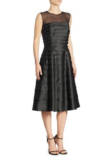Carmen Marc Valvo Tiered Illusion Dress