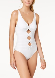 Carmen Marc Valvo Twist-Front Cutout Underwire One-Piece Swimsuit Women's Swimsuit
