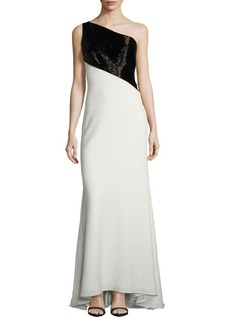 Carmen Marc Valvo Two-Tone Beaded Gown