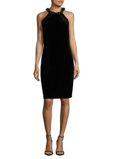 Carmen Marc Valvo Infusion Velvet Halter Dress