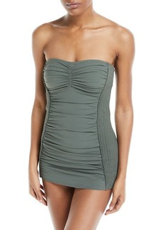 Carmen Marc Valvo Waterfall Solids Smocked Bandeau Swimdress