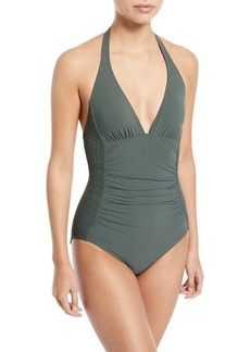 Carmen Marc Valvo Waterfall Solids Smocked Halter One-Piece Swimsuit