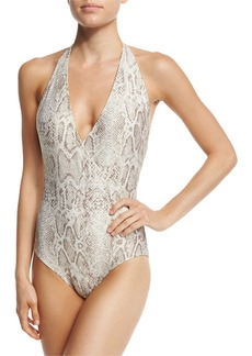 Carmen Marc Valvo Wild Story Halter One-Piece Swimsuit