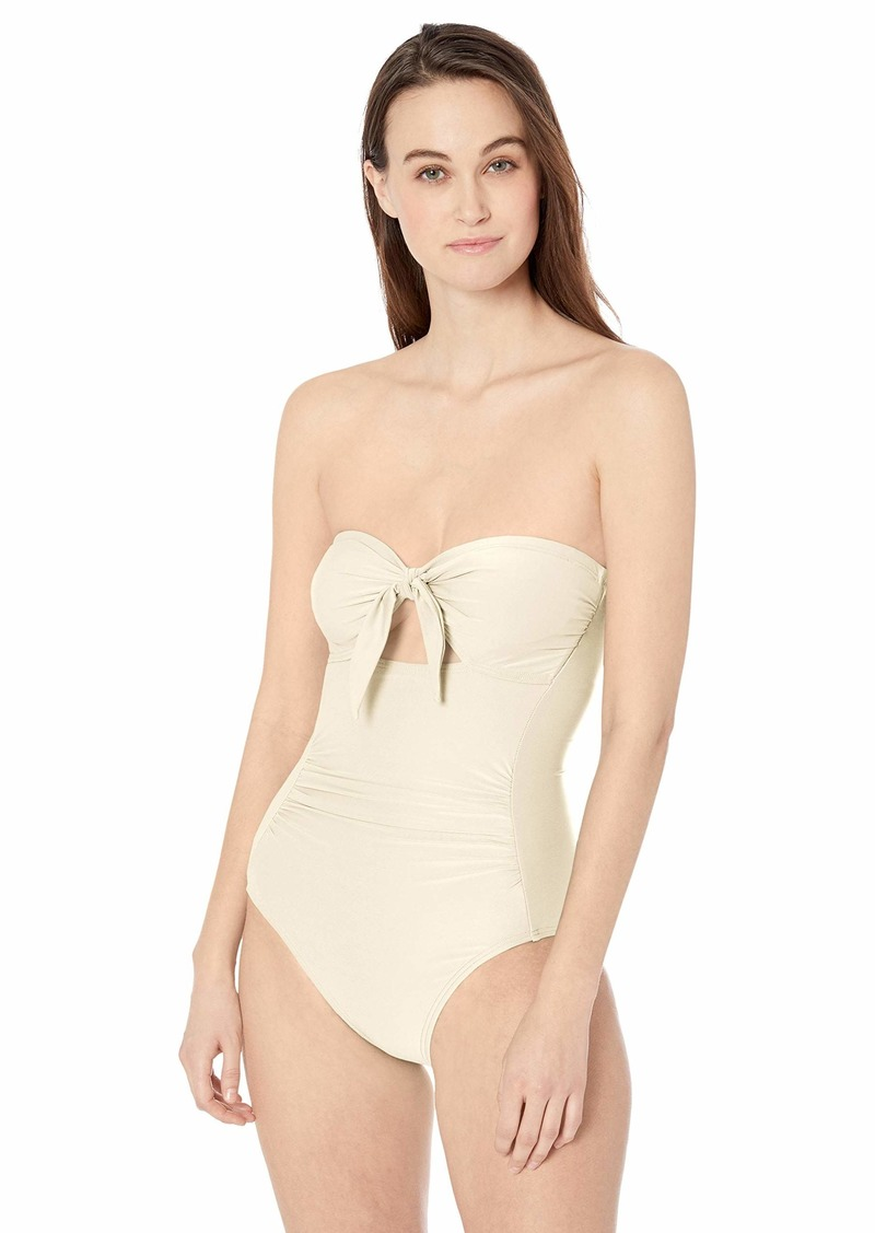 Carmen Marc Valvo Women's Bandeau one Piece Swimsuit with Removable Cups