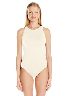 Carmen Marc Valvo Women's High Neck One Piece Swimsuit with Back Cut Out Details