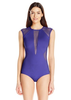 Carmen Marc Valvo Women's High Neck Mesh Panel One Piece Swimsuit