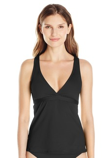 Carmen Marc Valvo Women's Solid Strap Tankini Top Swimsuit