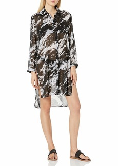 Carmen Marc Valvo Women's Long Sleeve Shirt Swimsuit Cover Up  L/