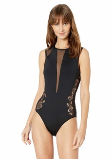 Carmen Marc Valvo Women's One Piece Swimsuit with Sequins and mesh Detail