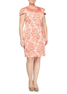 Carmen Marc Valvo Plus Rose-Jacquard Cap-Sleeve Dress