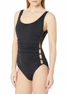 Carmen Marc Valvo Women's Scoop Neck One Piece Swimsuit with Side Beading Detail