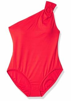 Carmen Marc Valvo Women's Shoulder one Piece Swimsuit with Hardware Detail
