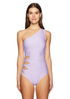 Carmen Marc Valvo Women's Shoulder One Piece Swimsuit with Side Twist Detail