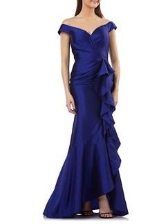 Carmen Marc Valvo Carmen Marco Valvo Infusion Taffeta Off the Shoulder Evening Dress