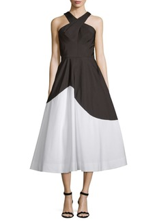 Carmen Marc Valvo Colorblock Cocktail Dress