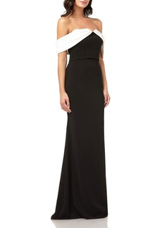 Carmen Marc Valvo Colorblock Off-the-Shoulder Column Gown w/ Satin Draped Arms