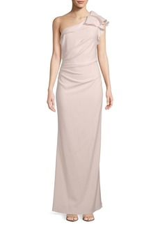 Carmen Marc Valvo Crepe One-Shoulder Gown