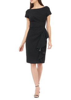 Carmen Marc Valvo Crepe Sequined Sheath Dress