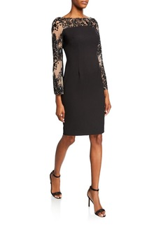 Carmen Marc Valvo Crepe Sheath Dress with Embellished Long Sleeves