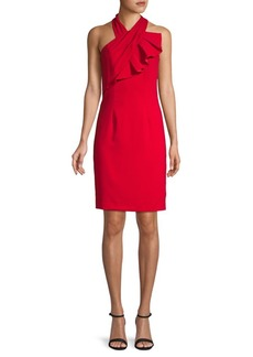 Carmen Marc Valvo Crossover Halterneck Sheath Dress