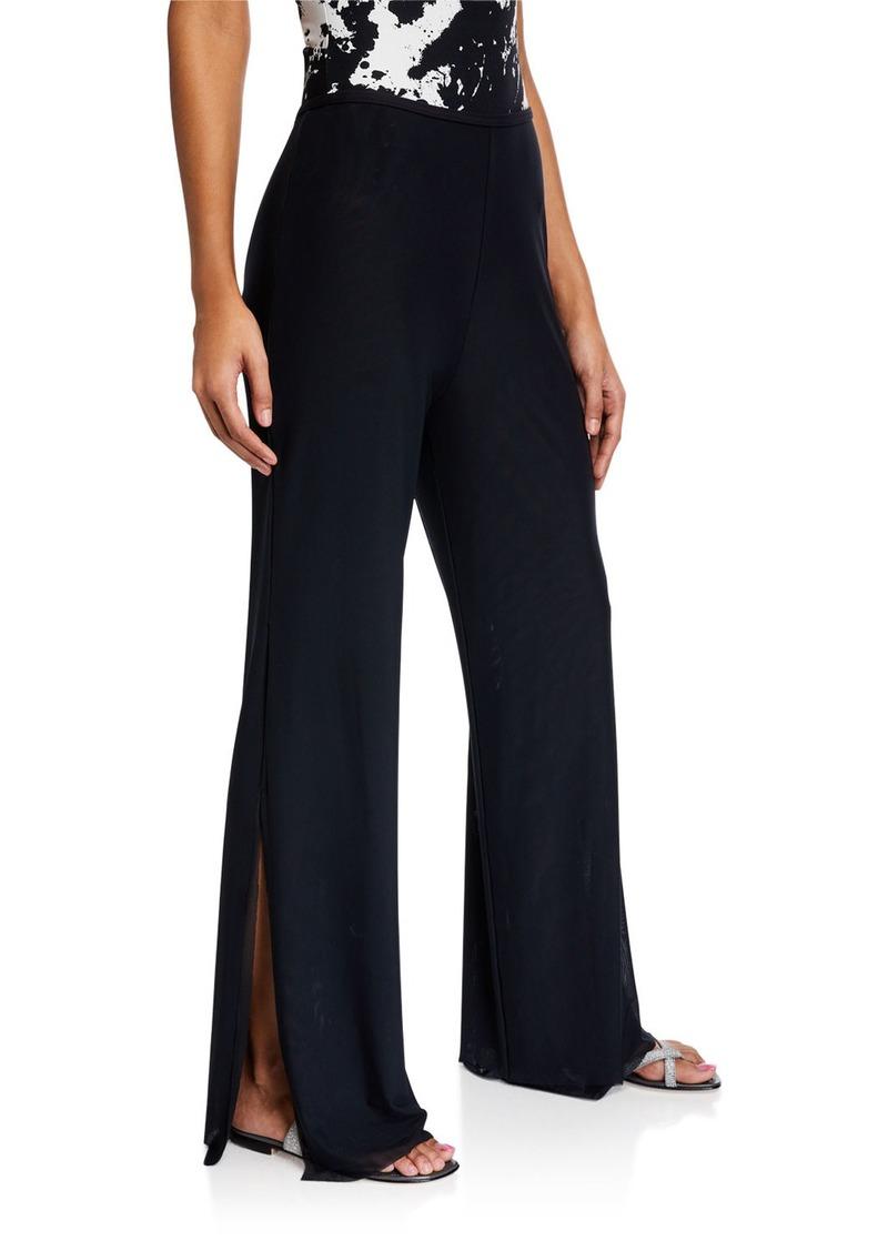 Carmen Marc Valvo Double-Layer Wide-Leg Split Coverup Pants
