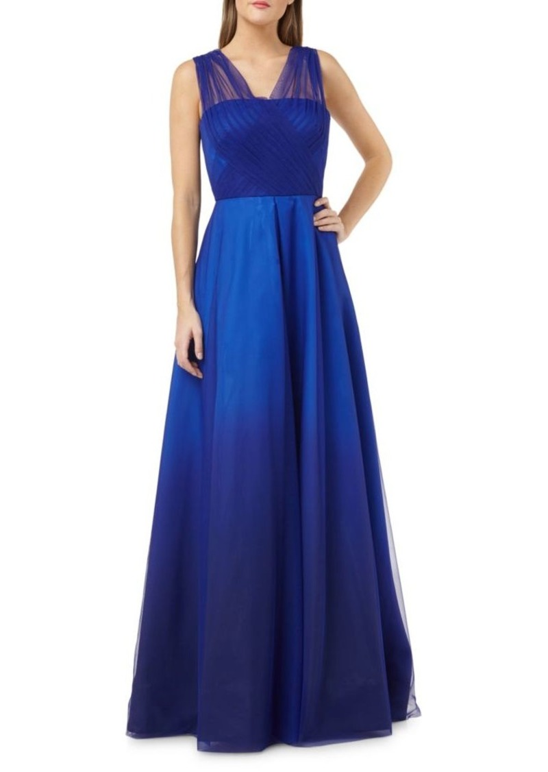 Carmen Marc Valvo Draped Tulle Ball Gown