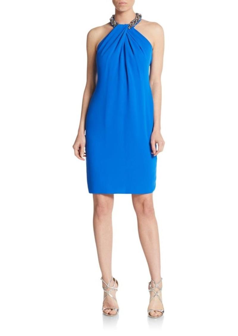 Carmen Marc Valvo Embellished Crepe Shift Dress