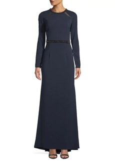 Carmen Marc Valvo Embellished Long-Sleeve Gown