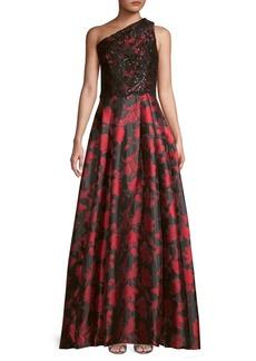 Carmen Marc Valvo Embellished One-Shoulder Gown