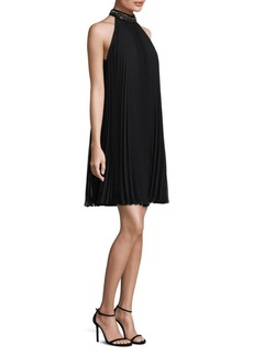 Carmen Marc Valvo Embellished Pleated Dress