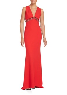 Carmen Marc Valvo Embellished V-Neck Gown