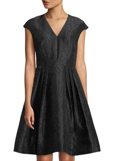 Carmen Marc Valvo Embroidered Cap-Sleeve V-Neck Dress