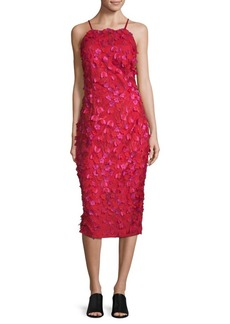 Carmen Marc Valvo Embroidered Floral Dress