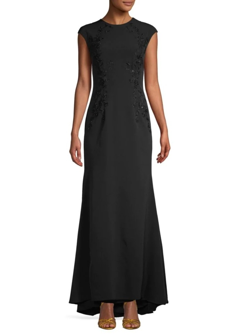 Carmen Marc Valvo Embroidered High-Low Gown