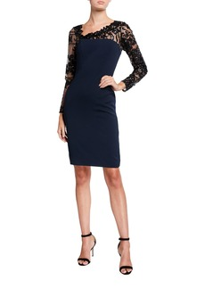 Carmen Marc Valvo Embroidered Illusion Asymmetric-Neck Long-Sleeve Crepe Sheath Dress