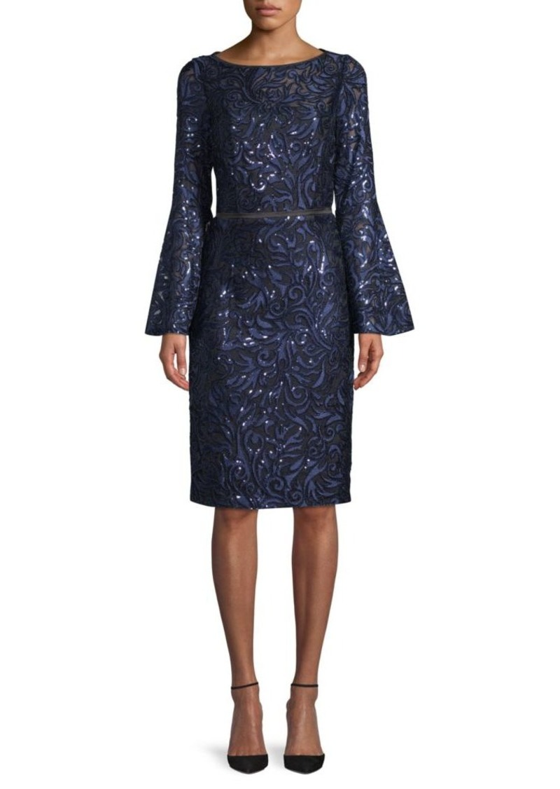 Carmen Marc Valvo Embroidery Bell-Sleeve Sheath Dress