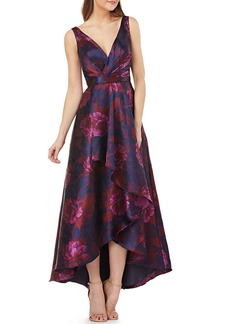 Carmen Marc Valvo Faux-Wrap High-Low Floral Ball Gown