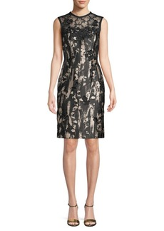 Carmen Marc Valvo Floral-Applique Sheath Dress